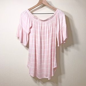 My Story Pink White Stripe Print Bell Sleeve Top